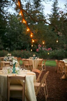 table setup, chairs, lights #wedding