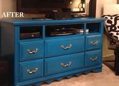 Dresser turned into adorable TV stand