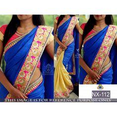 Bollywood Replica - Ethnic Blue & Cream Saree - NX-112