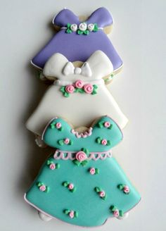 Dress cookies from a Bell Cutter what a cute idea...would be cute for a little girls tea party or even a baby shower for a baby girl