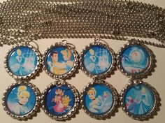 Set of 8 CINDERELLA Flat Bottlecap Necklaces! Fast Shipping!!