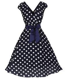 Lindy Bop 50's Mary Ellen Polka Dot Tea Dress Navy