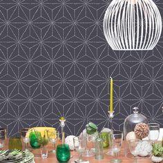 Asian and Oriental Decor with Large Geometric Wall Design - Shibori Japanese Wall Stencils - Royal Design Studio