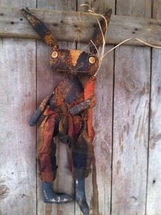 Primitive Folk Art extreme Black Bunny Rabbit with Carrot overalls grungy Easter #NaivePrimitive