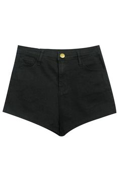 High Waist Black Shorts  #ROMWE