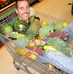 """Here's Steve-O shopping for fruits & veggies! lol """"It's commonly said that if slaughterhouses had clear glass walls nobody would eat meat. I think people go out of their way to remain ignorant about how factory farm animals are treated."""" ~ Steve-O #MyVeganJournal"""