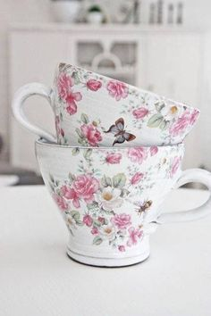 teacups with roses and butterflies