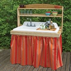 backyard bar built from salvaged cast-iron sink. Great for the garden, and a potting bench too. Vintage Kitchen Sink, Vintage Sink, Kitchen Sinks, Kitchen Unit, Bbq Kitchen, Kitchen Items, Kitchen Decor, Outdoor Projects, Diy Projects