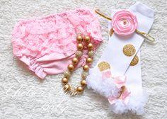 Pink and gold polka dot leg warmers baby leg by ChelseaRoseBaby