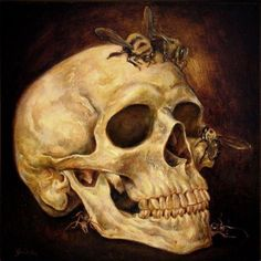 Danny Galieote, known for his Pop American Regionalism contemporary & figurative art. Bee Painting, Skull Painting, Painting People, Crane, Jr Art, Day Of The Dead Skull, Watercolor Projects, Vanitas, Old Master