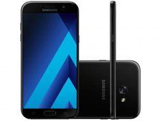 """Smartphone Samsung A7 2017 32GB Preto Dual Chip - 4G Câm. 16MP + Selfie 16MP 5.7"""" Proc. Octa Core com as melhores condições você encontra no site do Magazine Luiza. Confira!"""