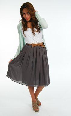 Grey Pleated Midi Skirt w/ Bow Belt