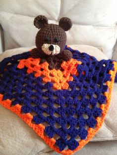 Crochet Baby Security Blanket Chicago Bears by MyThreePearls, $16.00