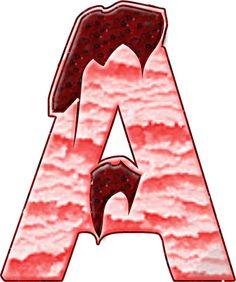 Alfabeto Decorativo: Alfabeto - Sorvete de Morango com cobertura - PNG ...