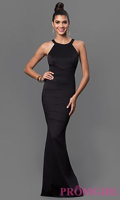 Black Floor Length Bandage Dress by Emerald Sundae at PromGirl.com