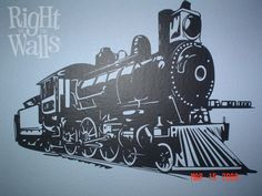 Train Engine Wall Decal, Kids Vinyl Wall Art-What little conductor doesn't want a cool train wall decal in his or her room? Our highly-detailed rendering of a steam engine locomotive for the engineer wannabe in your house. Boys Train Bedroom, Kids Bedroom, Bedroom Ideas, Kids Wall Decals, Vinyl Wall Decals, Wall Sticker, Golden Spike, Train Engines, Steam Engine