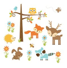 BOSQUE ANIMAL NURSERY Decor bosque amigos muchacha pegatinas etiqueta del Arte…