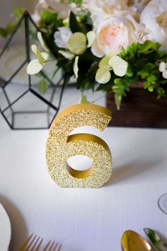 Gold Glitter Freestanding Wedding Table Numbers | Handmade Wedding Decor & Gifts at www.ZCreateDesign.com... or shop ZCreateDesign on Etsy