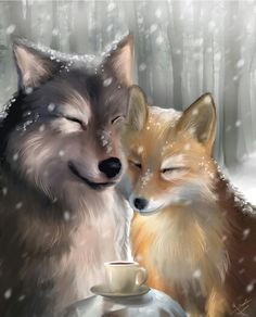 Fox and wolf together
