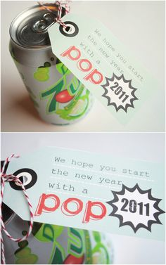 """Pictured: G-rated version: """"We hope you start the new year with a POP! Pictured: G-rated version: """"We hope you start the new year with a POP!"""" Adult version=even better: gift a split of POP c. Neighbor Christmas Gifts, Neighbor Gifts, Christmas And New Year, Teacher Appreciation Gifts, Teacher Gifts, Employee Appreciation, Student Gifts, Cool Gifts, Diy Gifts"""