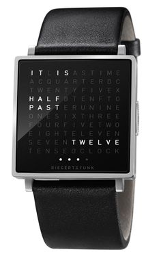 In a square there is a grid of 110 letters. When the stainless steel button is pressed, words light up in unexpected places which describe the time. Whenever you look at your QLOCKTWO W, it´s a new experience.