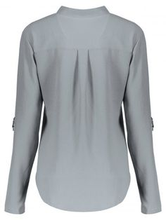 8306014d2a1ad GRAY Concise Solid Color V-Neck 3 4 Sleeve Chiffon Blouse For Women L