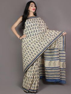 Ivory Blue Black Hand Block Printed in Natural Colors Cotton Mul Saree - S03170965
