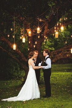 Using a tree as ceremony backdrop.... if we had the ceremony at SSHCC we could hand glass orbs with candles- but it couldn't be windy or the candles will blow out and float