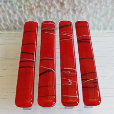 1 Fused Glass Drawer Pull Cabinet Pulls Red Home Decor Hardware Office Kitchen Bathroom Cupboard Knobs