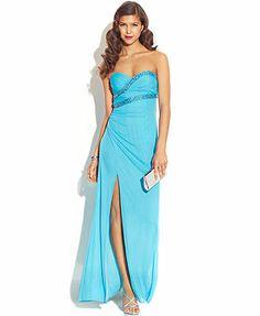 Hailey Logan Juniors' Strapless Back-Cutout Dress