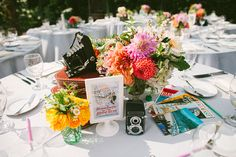 centerpiece - 1950s Technicolor Inspired Wedding by He and She Photography