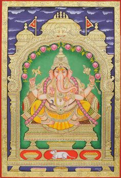 Lord Ganapati, The God of Auspiciousness, South Indian Tanjore Painting on BoardTraditional Colors with 24 Karat GoldArtist: Hemlata Kumawat Ganesha Art, Krishna Art, Lord Ganesha, Mysore Painting, Madhubani Painting, Indian Literature, Ganesha Painting, Religious Paintings, Buddha