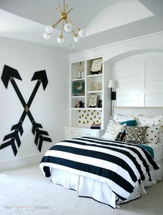 Modern Teen Girl Bedroom with Wooden Wall Arrows by Two Thirty~Five Designs
