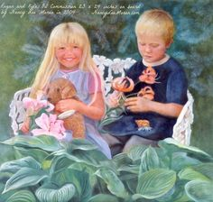Oil art commission by Nancy Lee Moran in 2004, brother and sister with lilies, favorite bear toy, and hermit crab, 23 x 24 inches on board, NancyLeeMoran.com #portraiture #siblings #art #oilpainting #girl #boy #Stargazer #lilies #lily #fineart #Lillium #Asiatic #spruce #hosta #hermitcrab