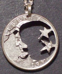 Moon & Stars Hand Cut Coin Jewelry by bongobeads on Etsy