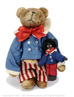 """Beary Best Friends, Tan Bear, wearing red and white striped cotton trousers, blue Sailor jacket with white collar, holding cloth golly friend entitled """"Golly G"""", tag detached but present, Excellent to Excellent Plus, 8""""/20cm."""