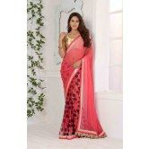 dusty-pink-color-georgette-saree