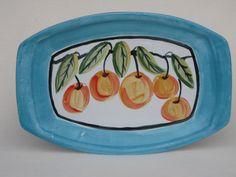 Peach Platter Majolica Oval by dkfdesign on Etsy. $27.99, via Etsy.
