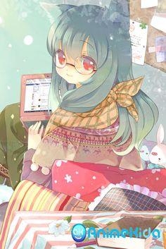 What a pretty computer nerdy nekomimi anime girl. Anime Chibi, Manga Art, Anime Art, Anime Girls, Cute Anime Character, Manga Love, Female Anime, Pretty Cats, Cute Art