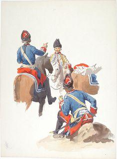 Le camp des Grenadiers ŕ cheval de la Maison du Roi pendant le sičge de Tournay 1741, 3 aquarelles originales par Lucien ROUSSELOT d'aprčs un tableau de LENFANT.