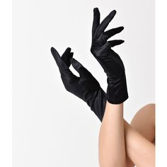 Unique Vintage Black Satin Short Gloves ($16) ❤ liked on Polyvore featuring accessories, gloves, multicolor, lightweight gloves, long evening gloves, formal gloves, short gloves and long gloves