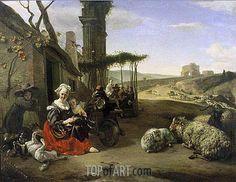 """Jan Baptist Weenix (1621 -1660) """"Итальянский пейзаж с гостиницей и древними руинами"""". 1658 год."""