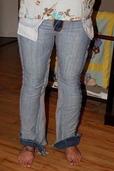 Blissfully Blessed: How to refashion jeans into skinnies.