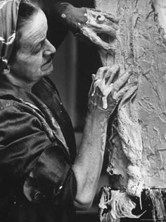 English Sculptor, Barbara Hepworth, at Work in Her StudioBy Paul Schutzer Premium Photographic Print: English Sculptor, Barbara Hepworth, at Work in Her Studio by Paul Schutzer : Barbara Hepworth, Abstract Sculpture, Sculpture Art, Metal Sculptures, Bronze Sculpture, Photo Portrait, Portraits, Famous Artists, Paintings Famous