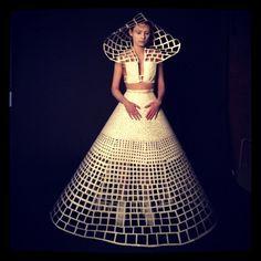 Hand cut Paper dress by Olga Kilina