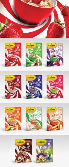Malsena Flakes Energy - Instant oat porridges. Created by Awocado Creative Studio™. Lithuania.