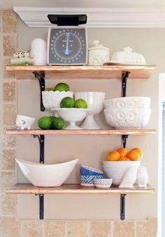 Boxy Colonial Spring Home Tour: copper shelves