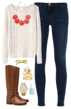 """""""Rosy"""" by classically-preppy ❤ liked on Polyvore featuring J Brand, Band of Outsiders, Tory Burch, Michael Kors, Essie, Marc Jacobs and Kate Spade"""