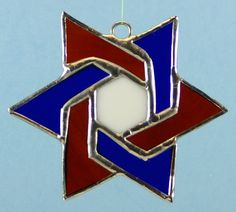 Stained Glass Blue Red and White Star of David by glassnwood, $15.00
