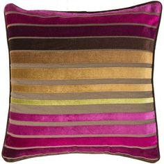 "Bungalow Rose Radad Sparkling Stripe Throw Pillow Size: 18"", Color: Fuchsia/Plum/Gold/Green, Filler: Down"
